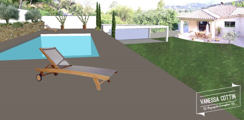 Conception d 39 un jardin en restanques avec piscine for Plan amenagement jardin rectangulaire