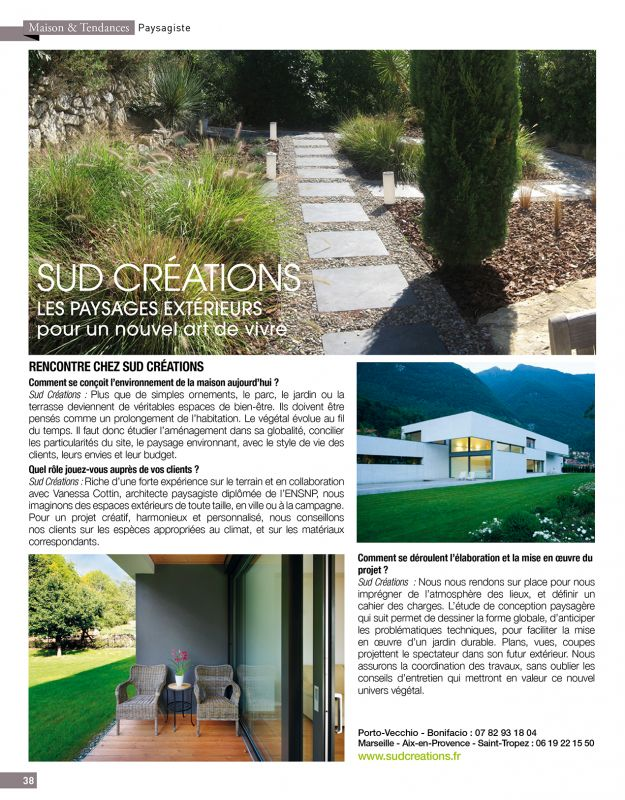 presse mars 2015 sud cr ations et vanessa cottin architecte paysagiste dans le var. Black Bedroom Furniture Sets. Home Design Ideas